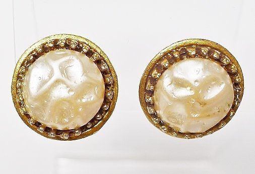 Round Dimpled Glass Pearl Earrings in Gold Toned Metal