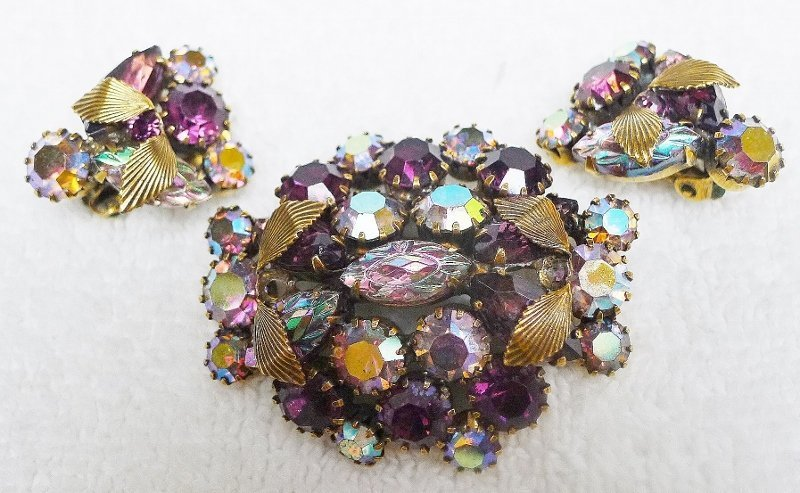 Sparkling Aurora Borealis Set - Brooch and Earrings