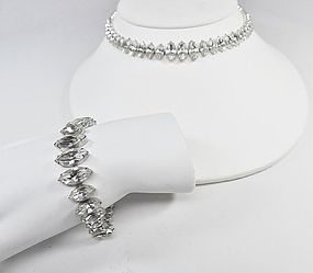Stunning Clear Rhinestone Marquise Necklace & Bracelet