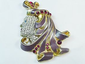 """Showgirl in Profile""l Large Brooch"
