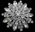 "Clear Rhinestone Domed Brooch - 2"" in Diameter"