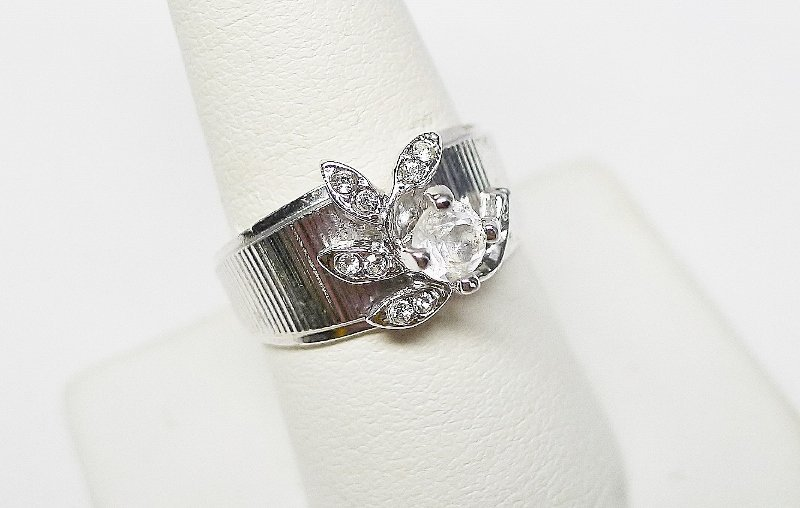 Silver Colored Rhinestone Cocktail Ring - Looks Real