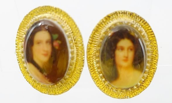 Lovely Lady Face Simulated Painted Earrings