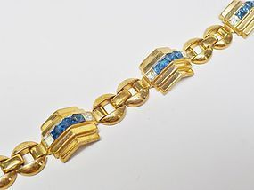 Coro Pegasis Blue and Clear Rhinestone Bracelet