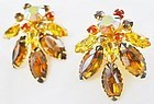Beaujewel Multicollor Rhinestone Clip Earrings