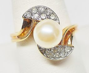 Faux Pearl and Rhinestone Cocktail Ring