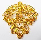 Sparkling Golden Topaz Colored Rhinestone Pin