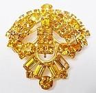 Sparkling Golden Topaz Colored Rhinestone Pin