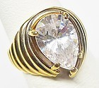 Large Pear Shaped CZ Cocktail Ring