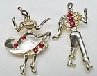 """Do-Si-Do"" Jeweled Square Dancers Brooch"