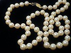 Creamy White Glass Pearl Necklace - Hand Knotted