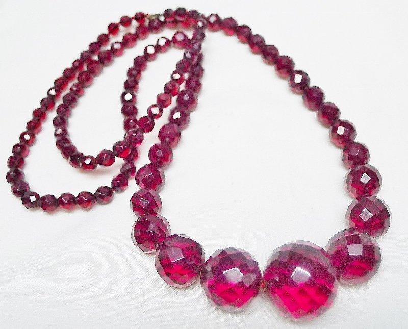 """Art Deco Cherry Amber Bakelite Graduated Beads - 27"""""""