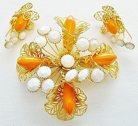 Large Hobe Gold, Orange and White Set for Summer