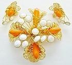 Large Hobe Gold, Orange and White Set for Summer