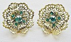 Lacey Gold Colored Earrings with Green Stones