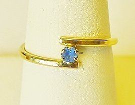 "Gold Toned Ring with Tiny Sapphire Glass - Childs""???"