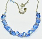 Art Deco Czech Blue Glass Necklace