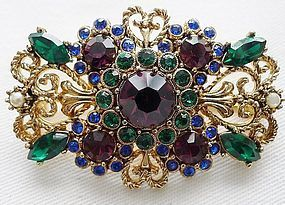 Colorful Rhinestone Brooch - Art Deco Filigree