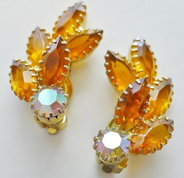 Topaz Color and Aurora Borealis Earrings.