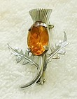 Small Scottish Thistle Brooch with Faux Topaz