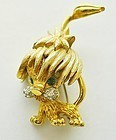 Whimisical Small Lion Pin With Rhinestones