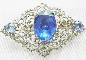 Silver Filigree Brooch with Blue  Rhinestones