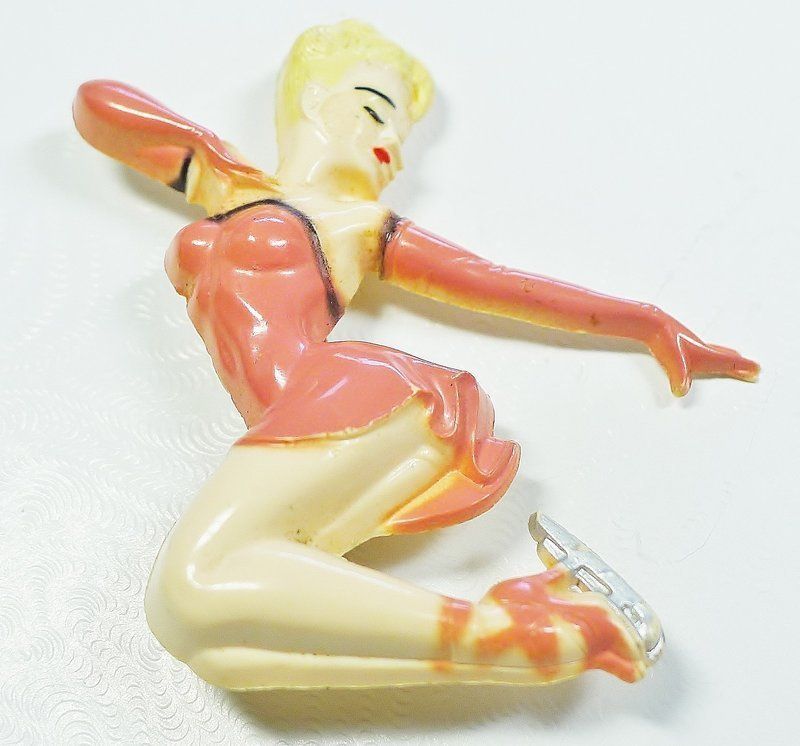 Whimsical Celluloid Ice Skating Brooch - 1940s