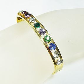 Multicolored Rhinestone Bangle Bracelet