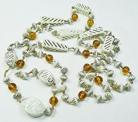 Art Deco Egyptian Revival Long Bead Necklace