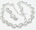 Bogoff Clear Rhinestone Necklace and Earrings