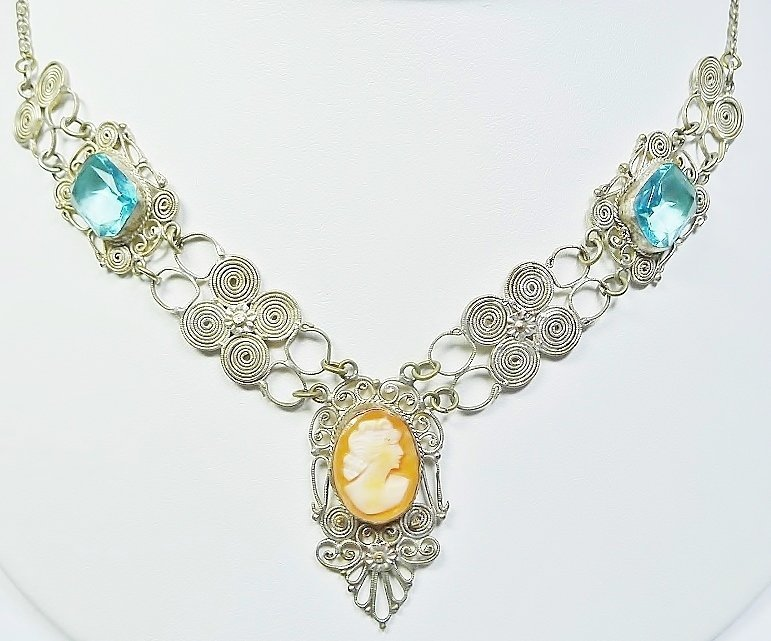 Victorian Sterling Cameo Necklace - Aqua Stones