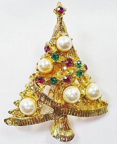 Pretty Pearl and Rhinestone Christmas Tree Brooch
