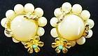 Hattie Carnegie Flowered Clip Earrings