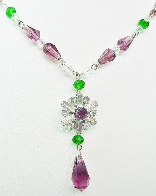 Art Deco Rhinestone Necklace - Suffragette Colors