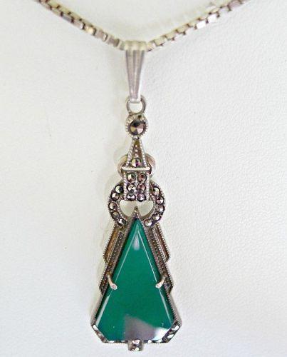 Art Deco Sterling Marcasite Lavalier Necklace