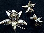 Mexican Sterling Orchid Brooch and Earrings