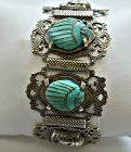 Art Deco Egyptian Revival Scarab and Silver Plated Bracelet with Hamsa