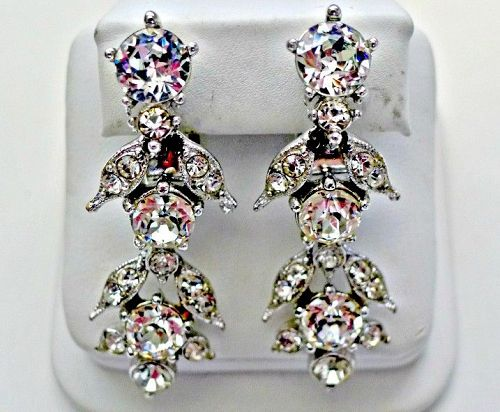 Bogoff Clear Rhinestone Dangle Earrings