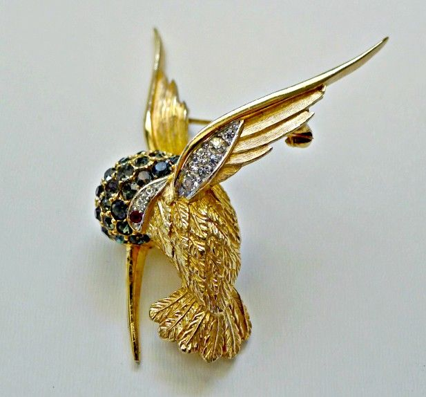 Boucher Hummingbird Brooch - Sapphire Blue and Clear Rhinestones