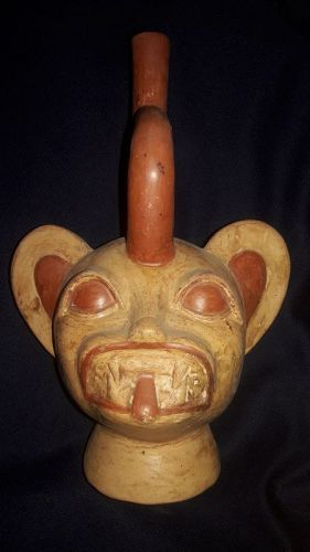 Moche Feline Head Effigy Vessel Genuine