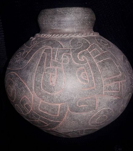 Chavin Textured Blackware globular vessell  with Mythological Motifs