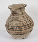 Ancient Indus Valley Culture Decorated Pottery Vessel