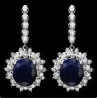 15 carat sapphire and diamond earrings 14 kt white gold