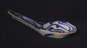 Hand Made Blue and White Porcelain Spoon