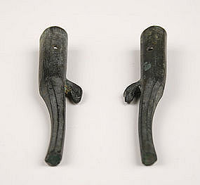 Pair of Zhou Period Bronze Arrow End Parasol Tip