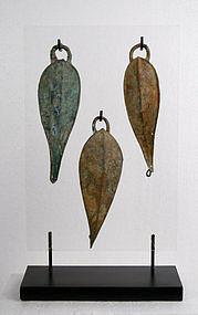 Khmer Culture Bronze Belt hook Trio w/Stand
