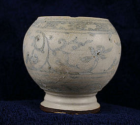 Unique Globular Hoi An Blue and White Porcelain Pot