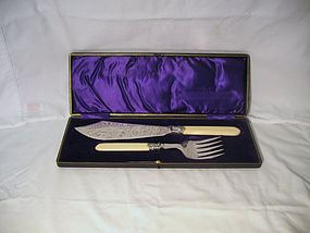 Boxed Victorian English Fish Server Set