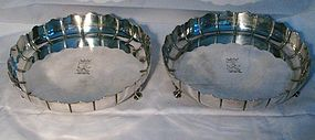 Rare Pair of George II Silver Strawberry Dishes