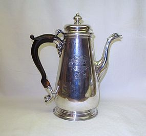 Georgian Sterling Silver Coffee Pot; 1751